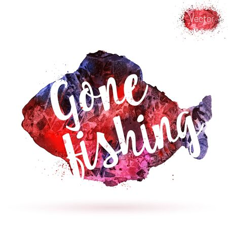 Phrase, Gone fishing, on watercolor background. Unique postcard, banner, flyer or poster with hand painted fish shape and typographic lettering. Modern calligraphy concept. Vector illustration. Illustration