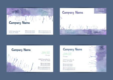 complied: Set of  hand painted watercolor horizontal business card templates. Colorful, bright abstract, blue and violet brush stocks and splashes on a white background. Complied with the standard size.