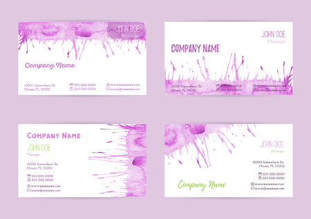 complied: Set of hand painted watercolor horizontal business card templates. Colorful, pastel abstract, pink brush stocks and splashes on a white background. Complied with the standard size.