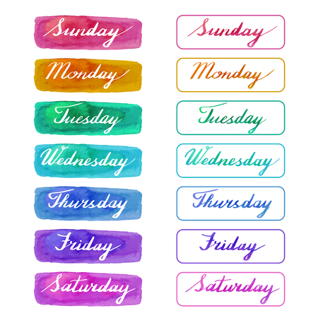 Handwritten days of the week: Monday, Tuesday, Wednesday, Thursday, Friday, Saturday, Sunday on abstract watercolor textures isolated on white background. Vector illustration with lettering.