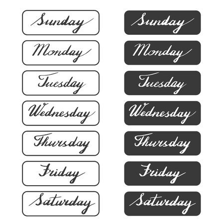 tuesday: Handwritten days of the week: Monday, Tuesday, Wednesday, Thursday, Friday, Saturday, Sunday isolated on white background. Black ink calligraphy words framed. Vector illustration with hand lettering. Illustration