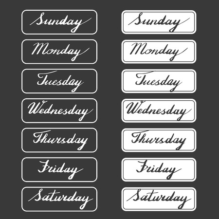 thursday: Handwritten days of the week: Monday, Tuesday, Wednesday, Thursday, Friday, Saturday, Sunday isolated on black background. Ink calligraphy words in frames. Vector illustration with hand lettering. Illustration