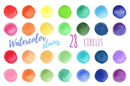 Hand bemalt Regenbogen Aquarell Kreise. Set Aquarell abstrakte Textur Hintergründe. Aquarell Kreis Design-Elemente auf einem weißen Hintergrund. Aquarell runden Blasen. Vektor-Illustration