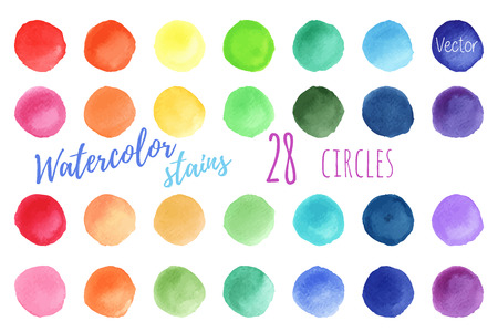 Hand painted rainbow watercolor circles. Set of watercolor abstract texture backgrounds. Watercolor circle design elements isolated on a white background. Watercolor round bubbles. Vector illustration