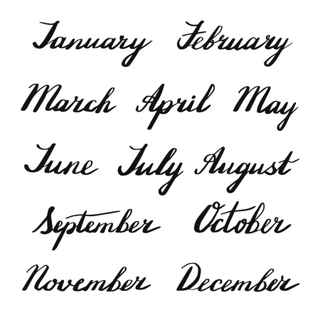 handwritten: Handwritten months of the year: January, February, March, April, May, June, July, August, September, October, November, December. Black words isolated on white background. Vector illustration.
