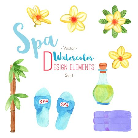 Set of watercolor SPA design elements isolated on white background. Hand painted watercolor: slippers, frangipani, plumeria flowers, bottle of oil, bamboo, stock of folded towels. Vector illustration. Vectores