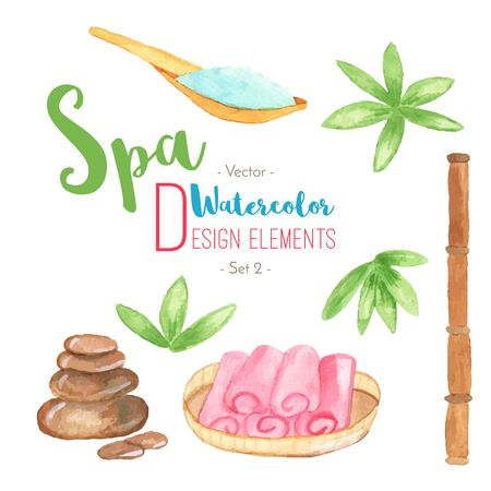 oriental medicine: Set of watercolor SPA design elements isolated on white background. Hand painted watercolor: sea salt on wooden spoon, stones, rocks, bamboo, rolled towels in basket. Vector illustration.