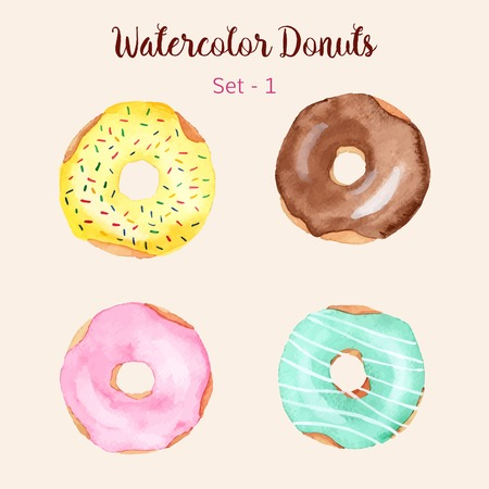 Watercolor donut set isolated on a light background. Hand painted donuts. Isolated sweet sugar icing donuts. Glazed donuts collection. Donut icons collection. Donuts with glaze and sprinkles. Vector. Illustration
