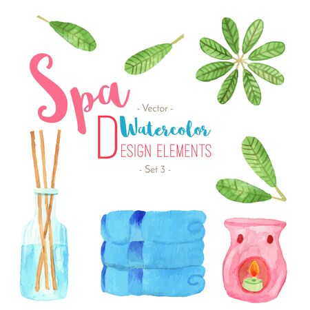 oriental medicine: Set of watercolor SPA design elements isolated on white background. Hand painted watercolor: candle oil diffuser, reed fragrance diffuser, frangipani, plumeria leaves. Vector illustration.