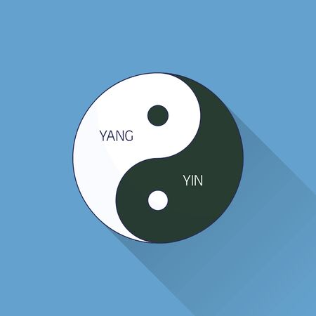 Yin Yang. Line, flat design. Flat icon with long shadow. Concept for beauty salon, massage, cosmetic and spa. Isolated high quality vector graphic. Easy to use business template.