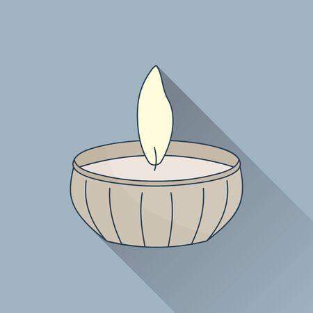 Hand drawn candle. Flat icon with long shadow. Concept for beauty salon, massage, cosmetic and spa. Isolated high quality vector graphic. Easy to use business template Illustration