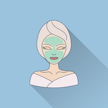 Hand drawn beautiful woman with facial mask. Flat icon with long shadow.  Concept for beauty salon, massage, cosmetic and spa. Isolated high quality vector graphic. Easy to use business template. Vettoriali