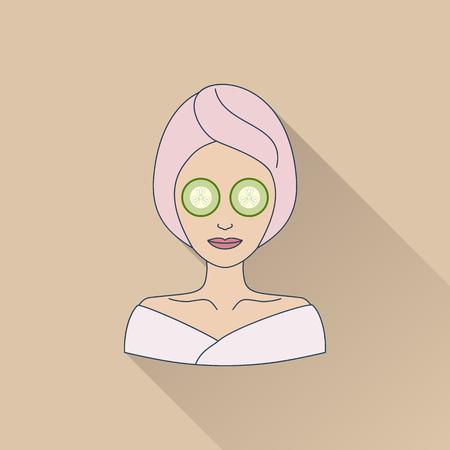 Hand getrokken mooie vrouw met een oogmasker. Vlakke icoon met lange schaduw. Concept voor schoonheidssalon, massage, cosmetica en spa. Geïsoleerde hoge kwaliteit vector afbeelding. Gemakkelijk om zaken sjabloon gebruiken. Stock Illustratie