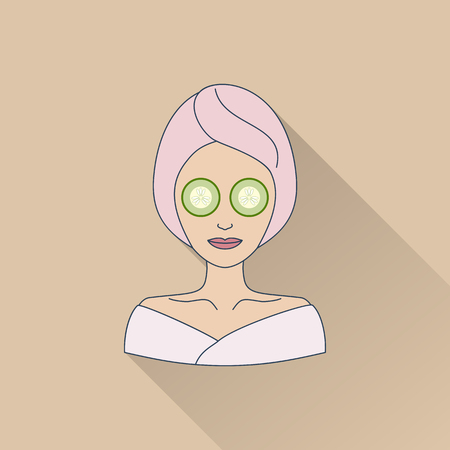 Hand drawn beautiful woman with eye mask. Flat icon with long shadow. Concept for beauty salon, massage, cosmetic and spa. Isolated high quality vector graphic. Easy to use business template.