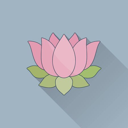 Hand drawn lotus flower.Flat icon with long shadow. Concept for beauty salon, massage, cosmetic and spa. Isolated high quality vector graphic. Easy to use business template.