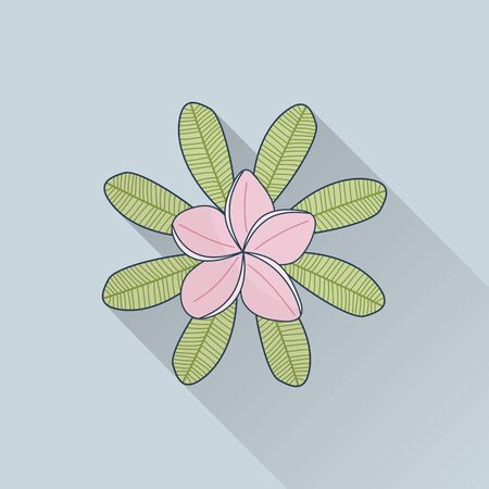 Hand drawn frangipani, plumeria. Flat icon with long shadow. Concept for beauty salon, massage, cosmetic and spa. Isolated high quality vector graphic. Easy to use business template Vettoriali