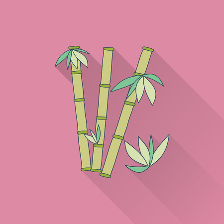Hand drawn bamboo. Flat icon with long shadow. Concept for beauty salon, massage, cosmetic and spa. Isolated high quality vector graphic. Easy to use business template.