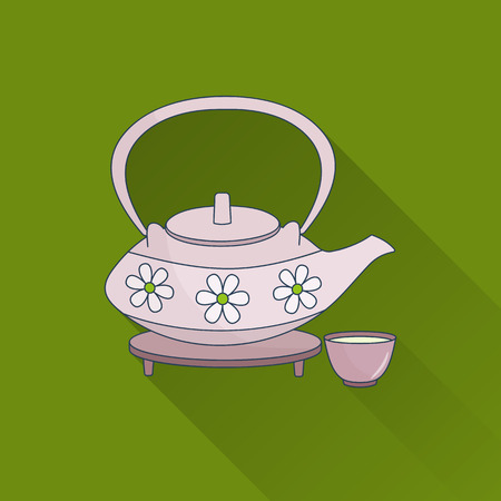 religion  herb: Hand drawn teapot and cups. Flat icon with long shadow. Concept for beauty salon, massage, cosmetic and spa. Isolated high quality vector graphic. Easy to use business template. Illustration