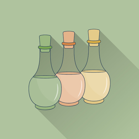 Hand drawn bottles of spa oils. Flat icon with long shadow. . Concept for beauty salon, massage, cosmetic and spa. Isolated high quality vector. Easy to use business template. Illustration