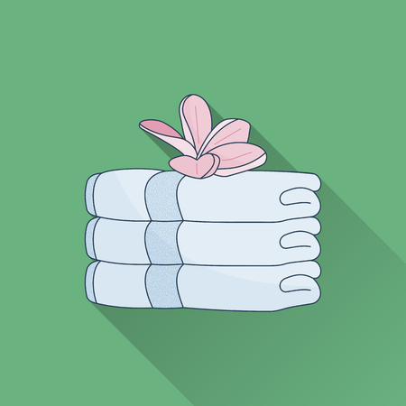 Hand drawn stack of towels and plumeria. Flat icon with long shadow. Concept for beauty salon, massage, cosmetic and spa. Isolated high quality vector graphic. Easy to use template. Illustration