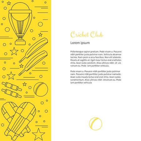 bails: Flyer, poster with cricket symbols and objects and with place for text. Vector sport template with professional cricket sport graphic design elements in thin line style isolated on colorful background