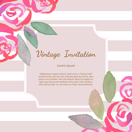 Invitation card with hand made watercolor pastel vintage roses. Floral watercolor background. Romantic template for wedding, bridal shower, Valentines day, mothers day, birthday. Vector illustration.