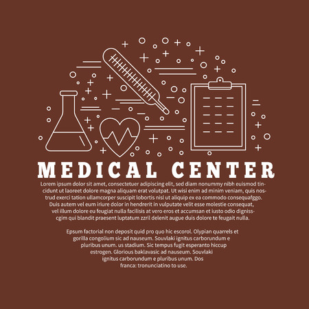 patient chart: Poster, flyer with medical symbols and objects isolated on color background.  Medical checkup, diagnostic, research icons. Healthcare graphic design elements. Vector template with place for your text.