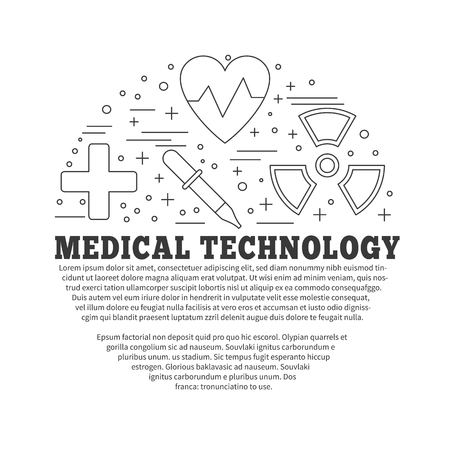 medical technology: Poster, flyer with medical symbols and objects isolated on white background.  Medical checkup, diagnostic, research icons. Healthcare graphic design elements. Vector template with place for your text. Illustration