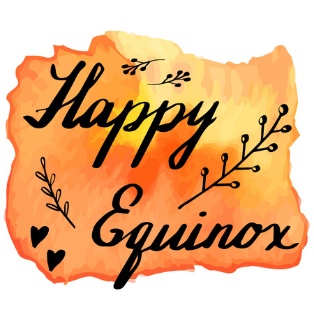 equinox: Hand written phrase Happy Equinox on abstract hand painted watercolor texture. Colorful autumn banner template with hand lettering isolated on white background. Vector illustration.