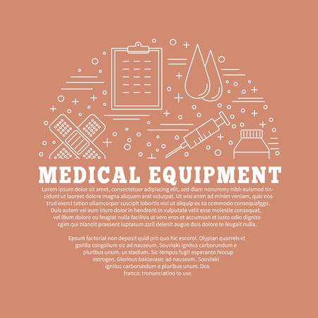 checkup: Poster, flyer with medical symbols and objects isolated on color background.  Medical checkup, diagnostic, research icons. Healthcare graphic design elements. Vector template with place for your text.