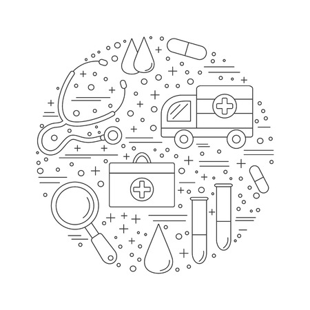 62468039 round composition with medical symbols objects medical checkup diagnostic and research icons arrange?ver=6 487 medical evaluation stock vector illustration and royalty free on research memorandum template