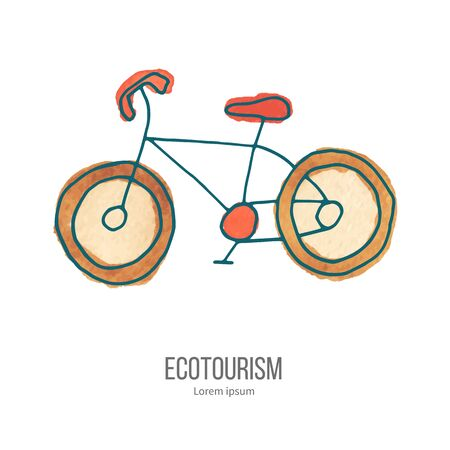 ecotourism: Bicycle. Ecotourism monochromatic line design element on hand painted abstract watercolor texture. Illustration