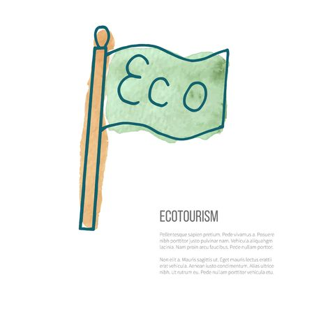 ecotourism: Flag with word Eco. Ecotourism monochromatic line design element on hand painted abstract watercolor texture.
