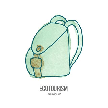 ecotourism: Travel Backpack. Ecotourism monochromatic line design element on hand painted abstract watercolor texture.