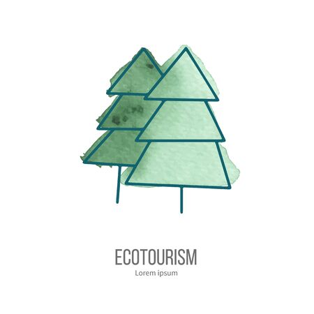 eco tourism: Coniferous trees. Ecotourism monochromatic line design element on hand painted abstract watercolor texture.