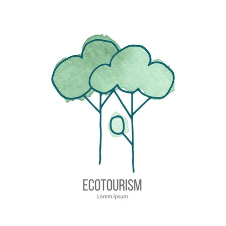 eco tourism: Deciduous trees. Ecotourism monochromatic line design element on hand painted abstract watercolor texture.