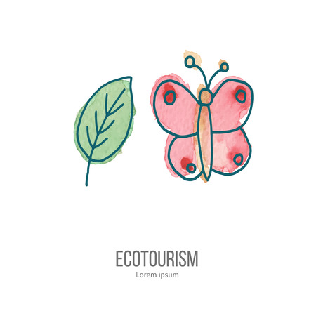 eco tourism: Pink butterfly and green leaf. Ecotourism monochromatic line design element on hand painted abstract watercolor texture. Illustration