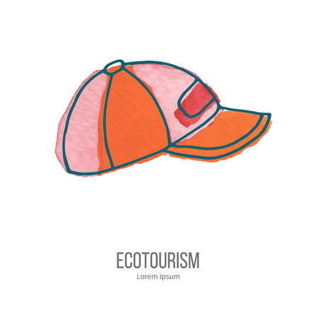 ecotourism: Baseball hat or cup. Ecotourism monochromatic line design element on hand painted abstract watercolor texture. Illustration