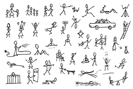 Large set of simple stick human and pets figures. People in motion. Big group of hand drawn people isolated on white background. Doodle stick figures sketch design elements. Vector illustration. Illustration