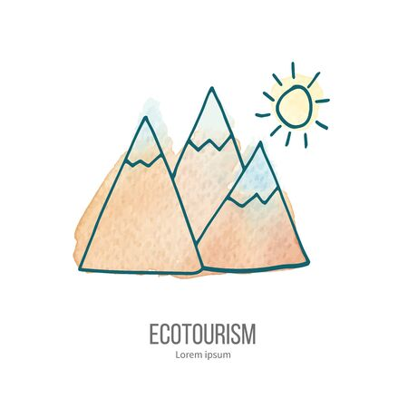 ecotourism: Mountains and sun. Ecotourism monochromatic line design element on hand painted abstract watercolor texture.