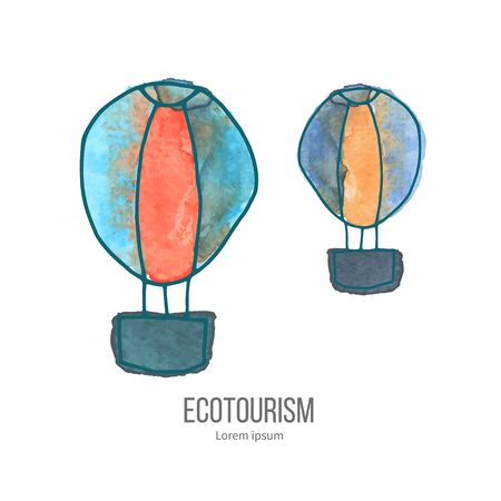 eco tourism: Two hot air balloons. Ecotourism monochromatic line design element on hand painted abstract watercolor texture.