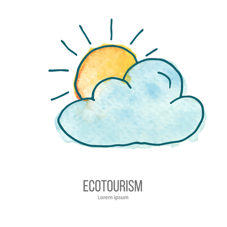 ecotourism: Cloud and sun.. Ecotourism monochromatic line design element on hand painted abstract watercolor texture.