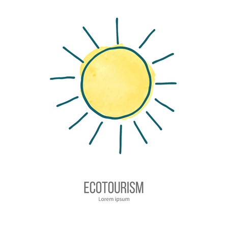 ecotourism: Shining sun. Ecotourism monochromatic line design element on hand painted abstract watercolor texture.
