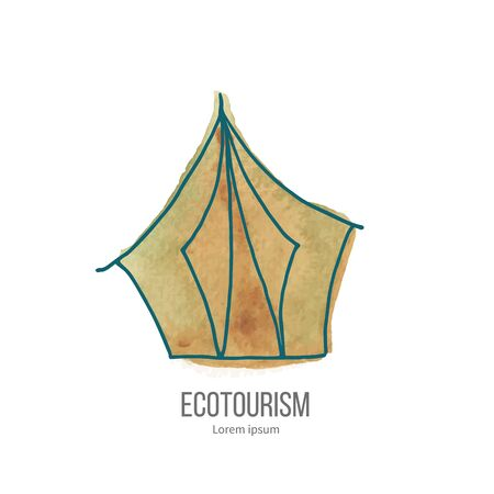 ecotourism: Camping tent. Ecotourism monochromatic line design element on hand painted abstract watercolor texture.