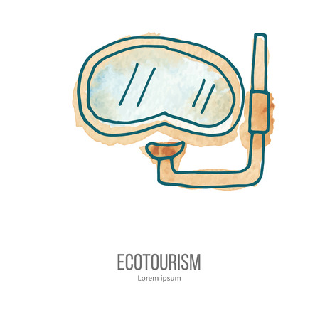 ecotourism: Diving mask with snorkel. Ecotourism monochromatic line design element on hand painted abstract watercolor texture. Illustration