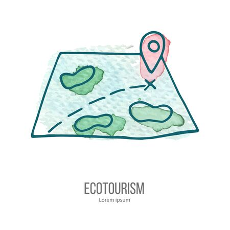 ecotourism: Map with ping. Ecotourism monochromatic line design element on hand painted abstract watercolor texture.
