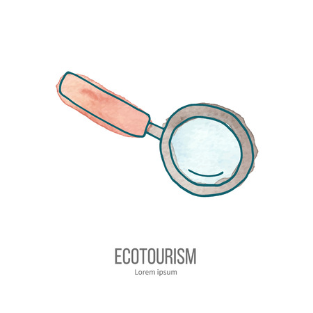 ecotourism: Magnifying glass. Ecotourism monochromatic line design element on hand painted abstract watercolor texture.
