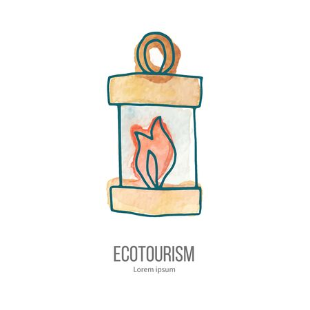 ecotourism: Burning candle and oil camping lamp. Ecotourism monochromatic line design element on hand painted abstract watercolor texture. Illustration
