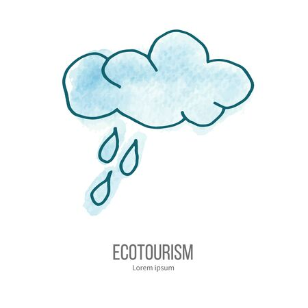 ecotourism: Cloud and rain drops. Ecotourism monochromatic line design element on hand painted abstract watercolor texture.