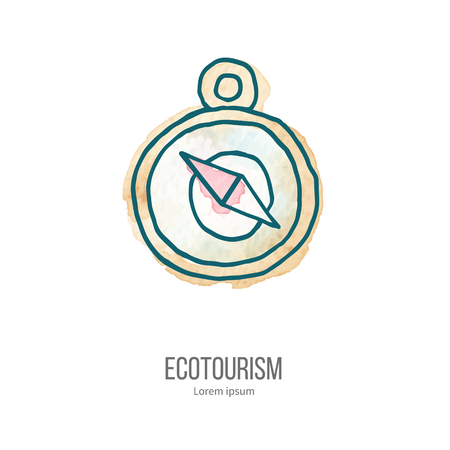 eco tourism: Compass. Ecotourism monochromatic line design element on hand painted abstract watercolor texture.